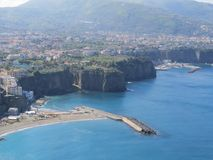 Sorrento view from above. Blue Tyrrhenian sea. Italy. Pure azul color stock image