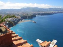 Sorrento view from above. Blue Tyrrhenian sea. Italy. Pure azul color royalty free stock images
