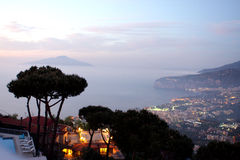 Sorrento view Italy. Sorrento view at night in the gulf of Naples in Italy Stock Photo