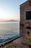 Sorrento Villa. Cliffside villa located in Sorrento Italy with Mt. Vesuvius in the background stock photos