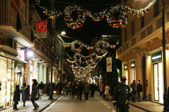 Sorrento wreaths. The crowded main street of sorrento in italy during the christmas season Royalty Free Stock Photos