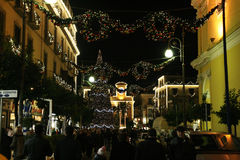 Sorrento xmas. The crowded main street of sorrento in italy in christmas time Stock Photo