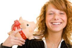 Sorridendo con la banca piggy Fotografie Stock