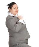 Sorridendo donna di affari di peso eccessivo e grassa Immagine Stock Libera da Diritti
