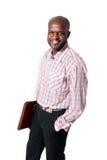 Sorridere africano felice dell'uomo d'affari Immagine Stock