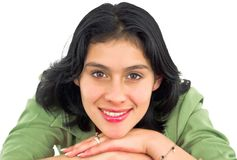 Sorridere allegro della giovane donna Fotografia Stock
