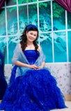 Sorridere asiatico su vestito di signora Immagine Stock Libera da Diritti