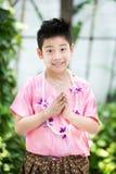 Sorridere asiatico sveglio del ragazzo Fotografia Stock