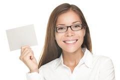 Sorridere in bianco della donna del segno Fotografie Stock