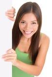 Sorridere in bianco della donna del segno Fotografia Stock