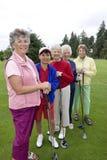 sorridere dei cinque giocatori di golf Fotografie Stock Libere da Diritti