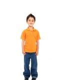 Sorridere del bambino isolato sopra un bianco Fotografie Stock