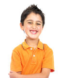 Sorridere del ragazzo isolato sopra un bianco Fotografia Stock Libera da Diritti