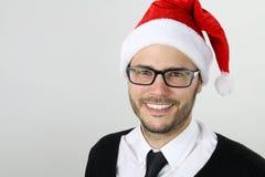 Sorridere del tempo dell'uomo d'affari di Natale Immagine Stock