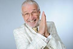 sorridere dell'anziano dell'uomo d'affari Fotografia Stock