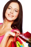 Sorridere della donna di acquisto Immagine Stock