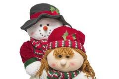 Sorridere della famiglia di natale delle coppie del pupazzo di neve fotografia stock libera da diritti
