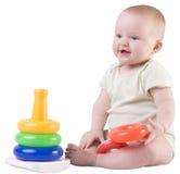 Sorridere della neonata, giocante Immagine Stock Libera da Diritti