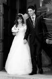 Sorridere dello sposo e della sposa fotografie stock