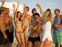 Sorridere di celebrazione della gente del partito della spiaggia Fotografia Stock