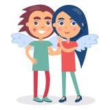 Sorridere di flirt delle coppie si tiene per mano, ragazzo e ragazza illustrazione di stock