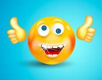 Sorridere felice con l'emoticon brillante bianco dei denti o il fronte rotondo che mostra i pollici su o OKAY sul fondo blu lumin illustrazione vettoriale