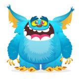 Sorridere felice del mostro del fumetto Mostro del blu di vettore di Halloween royalty illustrazione gratis