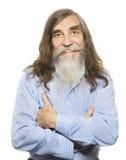 Sorridere felice senior Barba grigia lunga dei capelli dell'uomo anziano Fotografie Stock Libere da Diritti