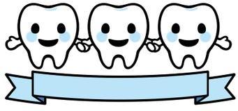 Sorridere felice tre denti illustrazione vettoriale