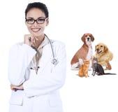 Sorridere femminile del veterinario Fotografia Stock