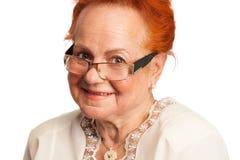 Sorridere gentile della signora anziana Fotografie Stock Libere da Diritti