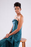 Sorridere grazioso della donna di colore Immagine Stock