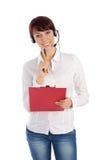 Sorridere rappresentativo di servizio di assistenza al cliente femminile Fotografia Stock