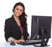 Sorridere rappresentativo di servizio di assistenza al cliente femminile Fotografie Stock Libere da Diritti