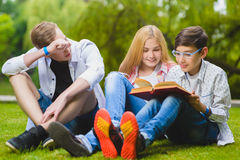 Sorridere scherza il libro di lettura e divertiresi ad erba Bambini che giocano all'aperto di estate gli adolescenti comunicano a Immagine Stock Libera da Diritti