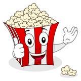 Sorridere a strisce del carattere della borsa del popcorn Immagine Stock