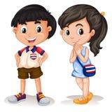 Sorridere tailandese della ragazza e del ragazzo Fotografie Stock