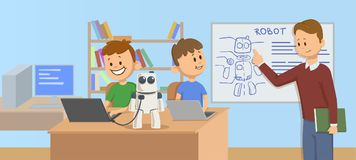 Sorrindo caçoa na sala de aula que estuda a robótica, ciência Mecânicos de explicação do robô do professor aos estudantes na fren ilustração stock