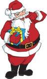 Sorrindo e pisc Papai Noel com presente ilustração stock