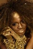 Sorrindo a mulher africana ou americana com cabelo encaracolado preto, composição do ouro e acessórios que levantam guardar entre imagens de stock