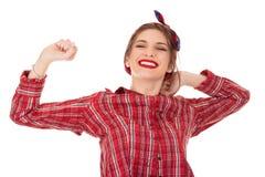 Sorrindo o esticão da jovem mulher fotografia de stock