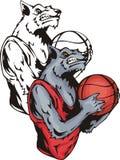Sorrindo o lobo cinzento com uma esfera do basquetebol ilustração royalty free