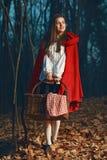 Sorrindo pouca capa de equitação vermelha na floresta na noite imagem de stock
