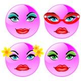 Sorrindo quatro esferas do vetor. Meninas cor-de-rosa Ilustração do Vetor
