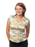 Sorrisi Brown-haired della ragazza Fotografia Stock