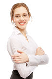 Sorrisi Charming della donna di affari Immagini Stock Libere da Diritti