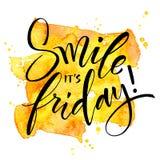 Sorriso é sexta-feira Citações inspiradas Imagens de Stock
