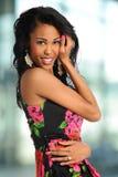 Sorriso afro-americano da mulher Fotos de Stock Royalty Free