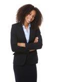 Sorriso afro-americano da mulher de negócio fotografia de stock