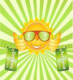 Sorriso alegre com etiqueta ecológica natural Fotos de Stock Royalty Free